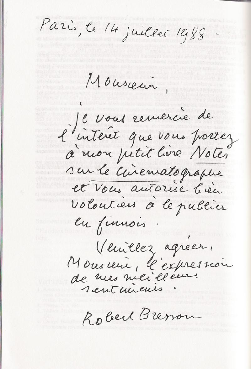 robert bresson bresson related books Nurse Practitioner Cover Letter letter from bresson to editor